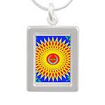 Spiral Sun Silver Portrait Necklace