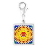 Spiral Sun Silver Square Charm