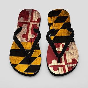 Wooden Maryland Flag2 Flip Flops
