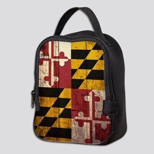 Wooden Maryland Flag2 Neoprene Lunch Bag
