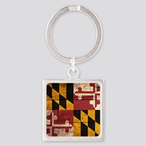 Wooden Maryland Flag3 Keychains