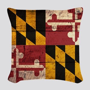 Wooden Maryland Flag3 Woven Throw Pillow