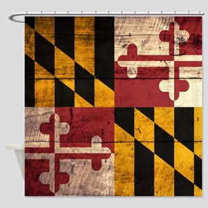 Wooden Maryland Flag3 Shower Curtain