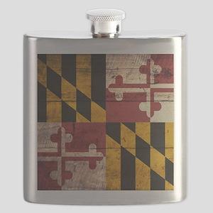 Wooden Maryland Flag3 Flask