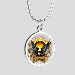Aguilar Family Crest Silver Round Necklace