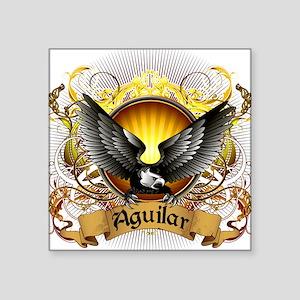 "Aguilar Family Crest Square Sticker 3"" x 3"""