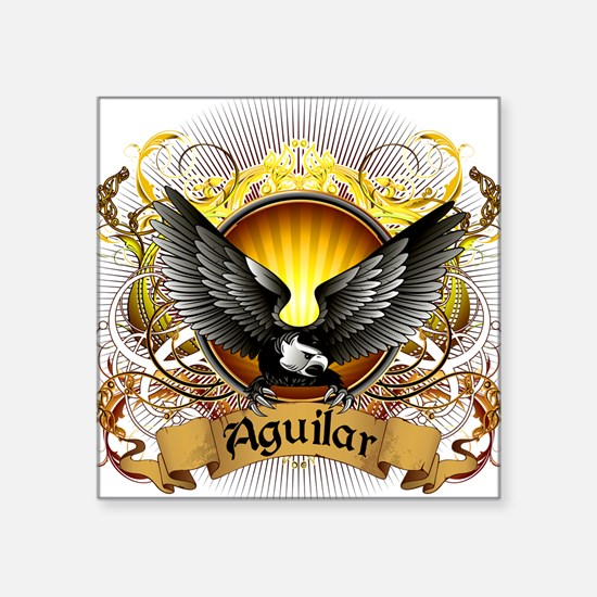 "Aguilar Family Crest Square Sticker 3"" x 3"""