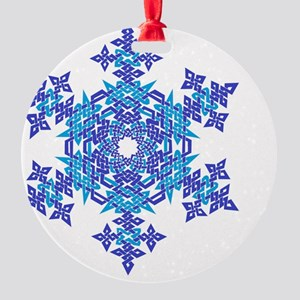 Silver and Blue Snowflake Round Ornament