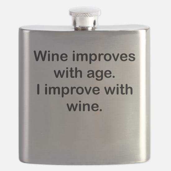 I Improve With Wine Flask