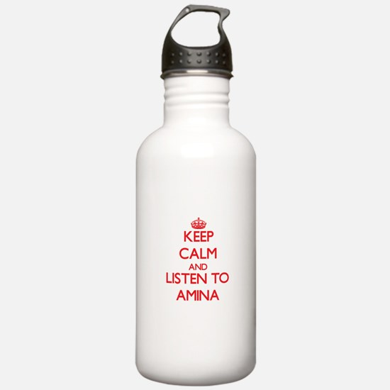 Keep Calm and listen to Amina Water Bottle