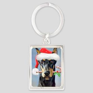 Doberman Christmas Portrait Keychain