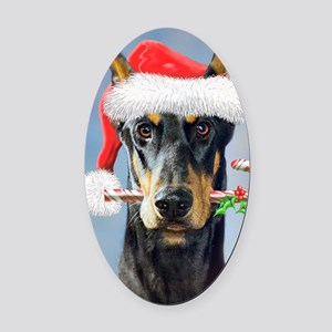 Doberman Christmas Oval Car Magnet