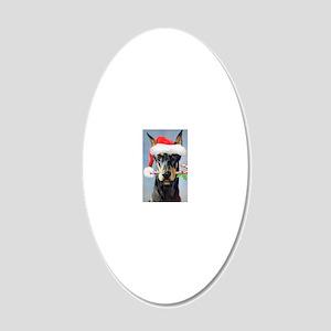 Doberman Christmas 20x12 Oval Wall Decal
