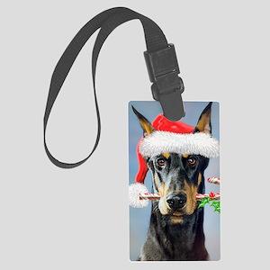 Doberman Christmas Large Luggage Tag