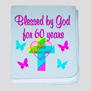 GOD LOVING 60TH baby blanket