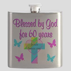 GOD LOVING 60TH Flask