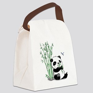 Panda Eating Bamboo Canvas Lunch Bag