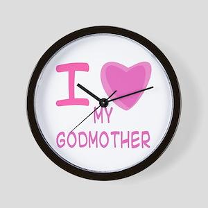Pink I Heart (Love) Godmother Wall Clock