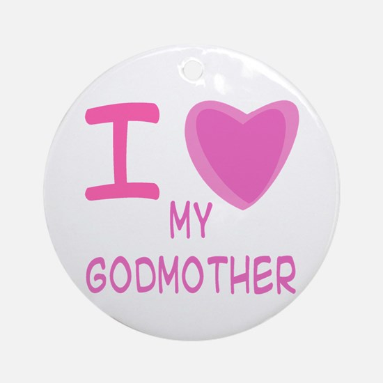 Pink I Heart (Love) Godmother Ornament (Round)