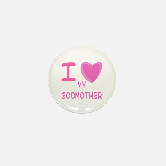 Pink I Heart (Love) Godmother Mini Button