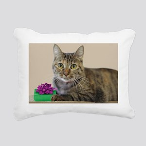 Cat with Gift Rectangular Canvas Pillow