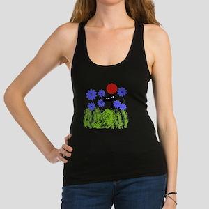 whimsical cat blue flowers DUVE Racerback Tank Top