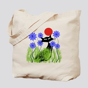 whimsical cat blue flowers DUVET Tote Bag