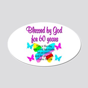 REJOICING 60TH 20x12 Oval Wall Decal