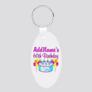 AWESOME 60TH Aluminum Oval Keychain