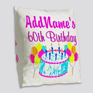 AWESOME 60TH Burlap Throw Pillow