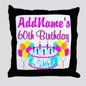 AWESOME 60TH Throw Pillow