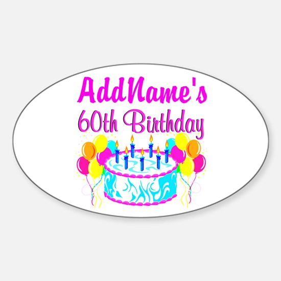 AWESOME 60TH Sticker (Oval)