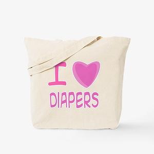 Pink I Heart (Love) Diaper Tote Bag