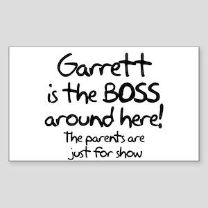 Garrett is the Boss Rectangle Sticker