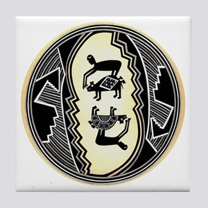 MIMBRES MEN HUNTING BEARS BOWL DESIGN Tile Coaster