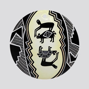 MIMBRES MEN HUNTING BEARS BOWL DESIGN Ornament (Ro