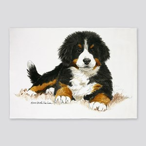 Bernese Mountain Dog Bright Eyes 5'x7'Area Rug