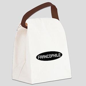 Francophile White on Black Canvas Lunch Bag