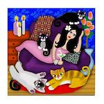 Lady & 4 Cats Martini Tile Coaster