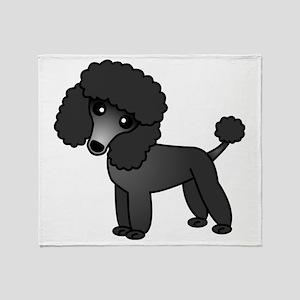 Cute Poodle Black Coat Throw Blanket