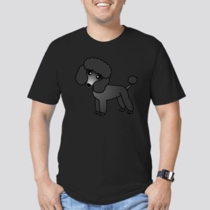 Cute Poodle Black Coat Men's Fitted T-Shirt (dark)