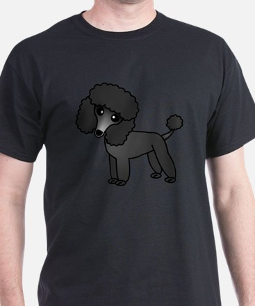 Cute Poodle Black Coat T-Shirt