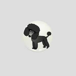 Cute Poodle Black Coat Mini Button