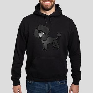 Cute Poodle Black Coat Hoodie (dark)