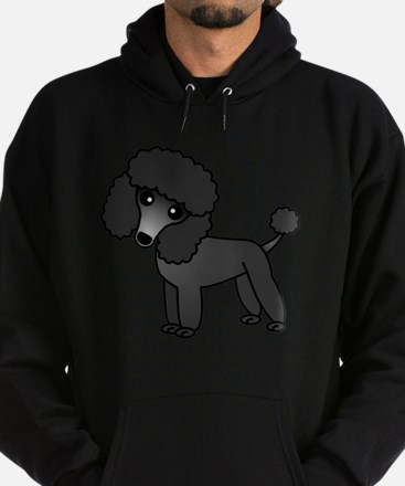 Cute Poodle Black Coat Hoodie (dark)