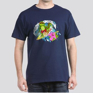 Surfing Gecko Lizard Dark T-Shirt