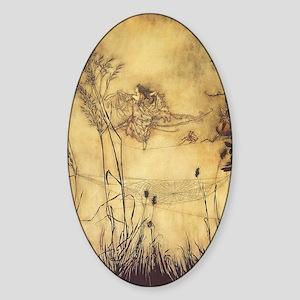 Fairy's Tightrope by Arthur Rackham Sticker (Oval)