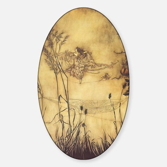 Fairy's Tightrope by Arthur Rackham Sticker (Oval)