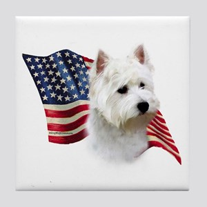 Westie Flag Tile Coaster