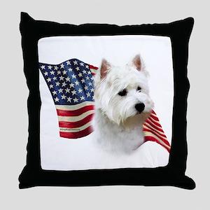 Westie Flag Throw Pillow